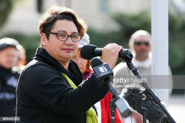 Green Party coleader Metiria Turei during a petition delivery at Parliament on July 6 2017 in Wellington New Zealand The petition is calling for the...