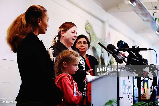 Green Party Coleader Metiria Turei listens to Rhiannon and her daughter Emma tell their story of being homeless after the Green Party Homes Not Cars...