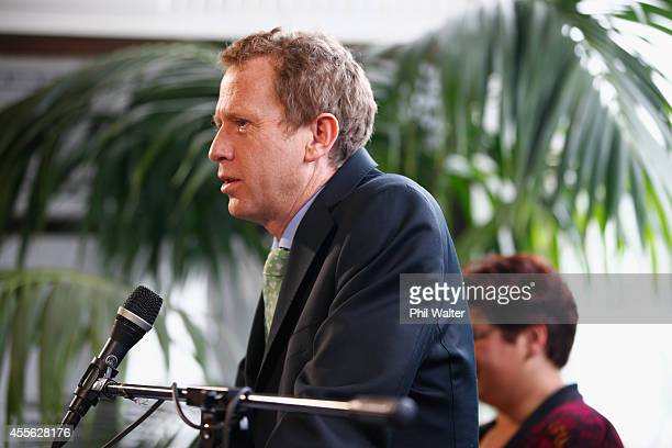 Green Party coleader Russel Norman speaks during their election campaign event at St Kevins Arcade in Auckland on September 18 2014 in Auckland New...