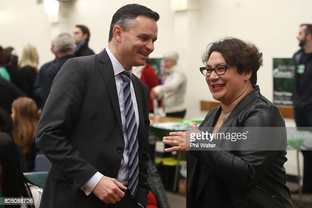 Green Party coleaders James Shaw and Metiria Turei chat during the Green Party Auckland Election Campaign Launch on August 1 2017 in Auckland New...