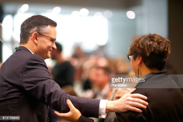 Green Party coleaders James Shaw and Metiria Turei during the 2017 Green Party Conference at AUT Auckland during the 2017 Green Party Conference on...