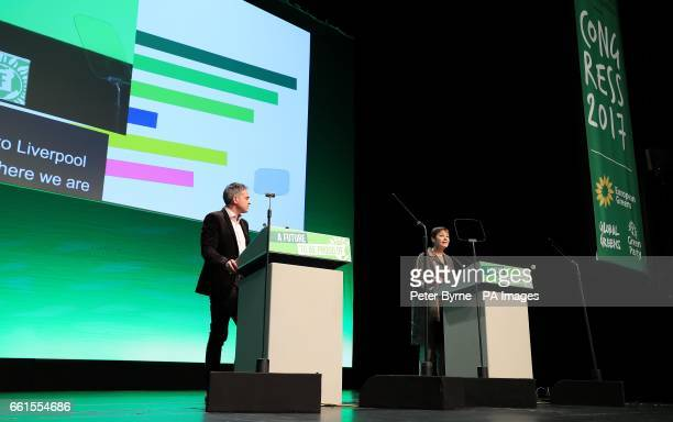 Green Party coleaders Jonathan Bartley and Caroline Lucas speak at the Green Party Spring Conference at the ACC in Liverpool