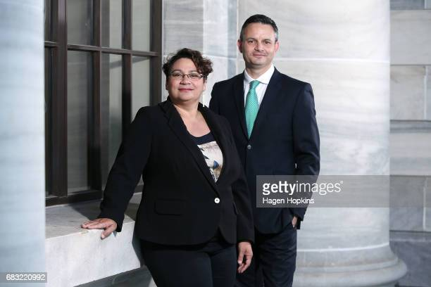 Green Party coleaders Metiria Turei and James Shaw pose for a portrait at Parliament on May 15 2017 in Wellington New Zealand