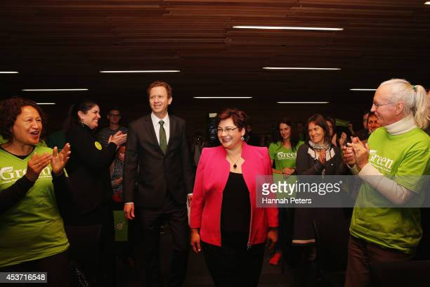 Green Party Coleaders Metiria Turei and Russel Norman arrive at Sir Paul Reeves Building on August 17 2014 in Auckland New Zealand New Zealanders...