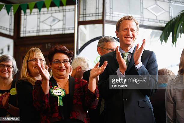 Green Party coleaders Russel Norman and Metiria Turei during the Green Party election campaign event at St Kevins Arcade in Auckland on September 18...