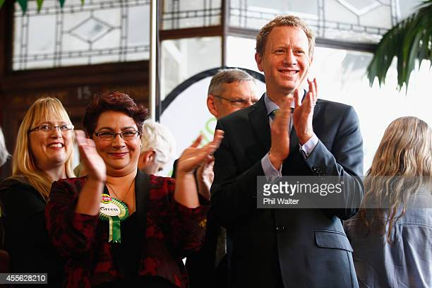 Green Party coleaders Russel Norman and Metiria Turei during their election campaign event at St Kevins Arcade in Auckland on September 18 2014 in...