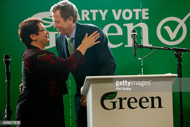 Green Party coleaders Russel Norman and Metiria Turei embrace during their election campaign event at St Kevins Arcade in Auckland on September 18...