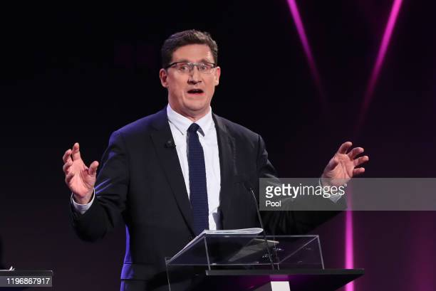 Green Party leader Eamon Ryan, during the seven way RTE leaders debate at the National University of Ireland Galway campus on January 27, 2020 in...