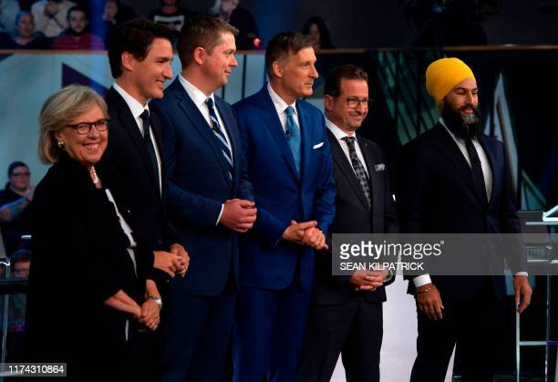 Green Party leader Elizabeth May Liberal leader Justin Trudeau Conservative leader Andrew Scheer People's Party of Canada leader Maxime Bernier Bloc...