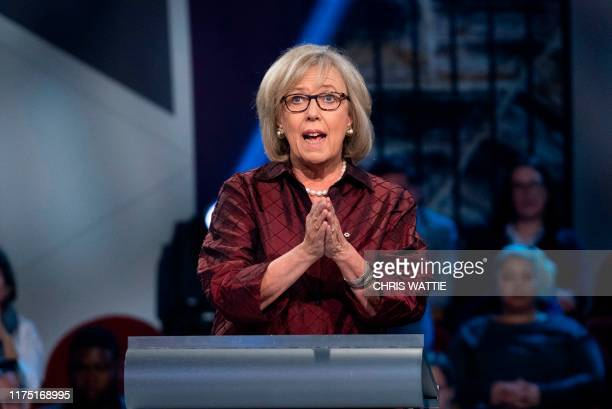 Green Party leader Elizabeth May speaks during the Federal leaders French language debate at the Canadian Museum of History in Gatineau Quebec on...