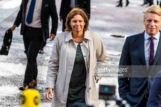 Green Party leader Isabella Lovin attends the opening of the Swedish Parliament for the fall session at the Riksdag Parliament building on September...