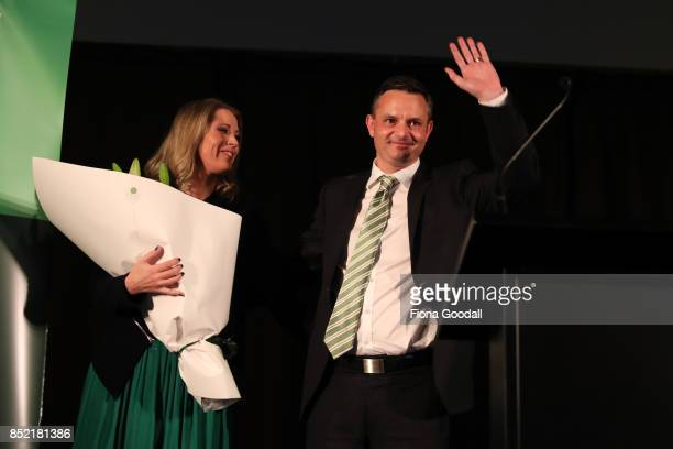 Green Party leader James Shaw and wife Annabel thank supporters at St Matthews in the City on September 23 2017 in Auckland New Zealand Voters head...