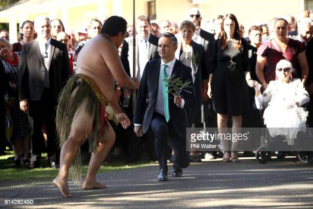 Green Party leader James Shaw recieves a traditional Powhiri onto the Waitangi Treaty Grounds on February 5 2018 in Waitangi New Zealand The Waitangi...