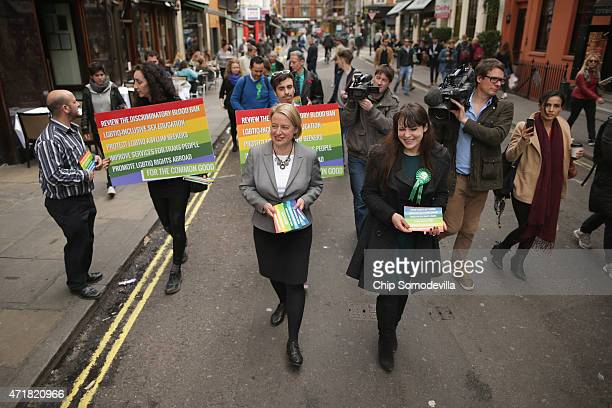 Green Party leader Natalie Bennett and deputy party leader Amelia Womack walk down Firth Street near Old Compton Street the center of London's gay...