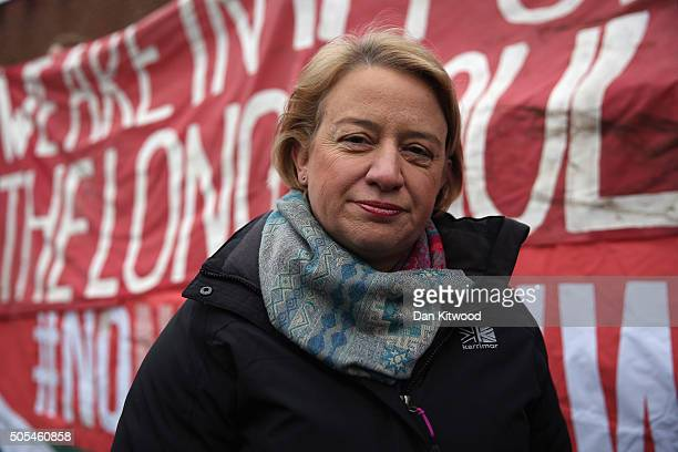 Green party leader Natalie Bennett arrives as members of the 'Plane Stupid' group gather at Willesdon Youth Magistrates Court on January 18 2016 in...