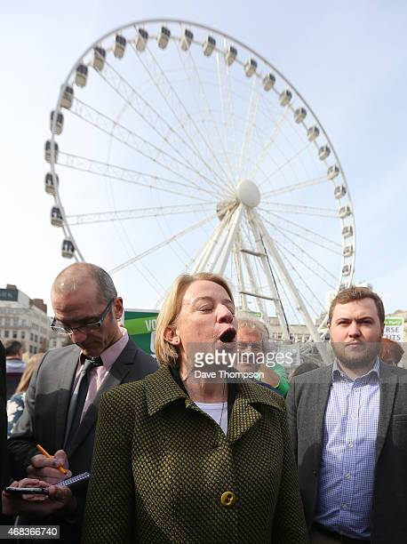 Green Party Leader Natalie Bennett meets supporters and media in Piccadilly Gardens as she arrives in Manchester ahead of the TV debate April 2 in...
