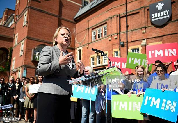 Green Party leader Natalie Bennett speaks at a Remain in the EU campaign event at the Oval cricket ground on June 6 2016 in London England