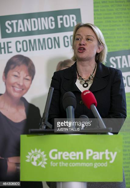 Green Party leader Natalie Bennett speaks during a press conference to launch the party's election campaign in London on February 24, 2015. Bennett...