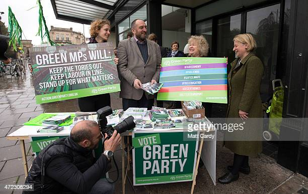 Green Party leader Natalie Bennett speaks with party supporters on the final day of campaigning on May 6 2015 in Bristol England Britain's political...