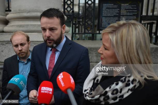 Green Party Leader Steven Agnew, SDLP Leader Colm Eastwood, and Sinn Fein Deputy Leader Michelle O'Neill and Northern Ireland, speak to media outside...