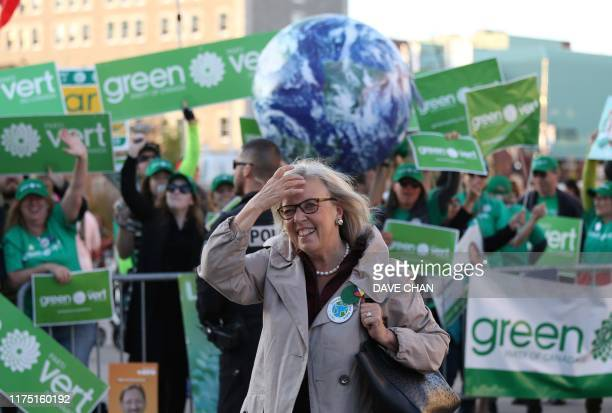 Green Party leader Elizabeth May arrives at The Leaders Debate at the Canadian Museum of History in Gatineau, Quebec on October 10, 2019. - Prime...