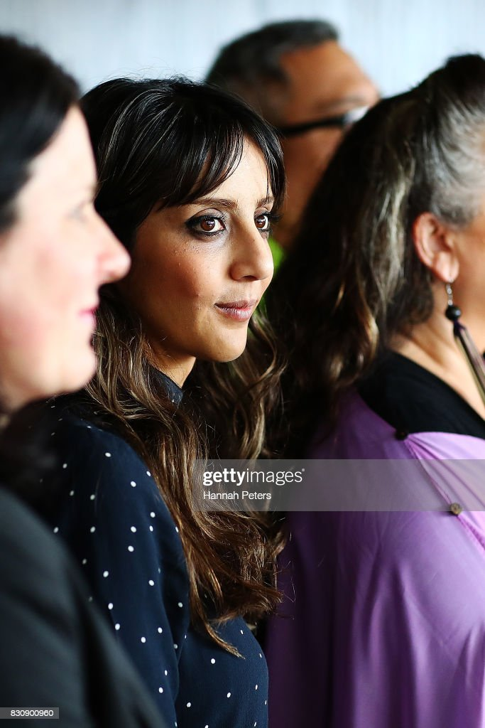 Green Party member Golriz Ghahraman looks on as leader James Shaw speaks at the relaunch of the Greens Party on August 13, 2017 in Auckland, New Zealand. The Greens Party have relaunched their party with a new slogan 'Love New Zealand'.