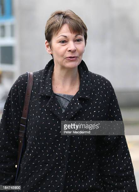 Green Party Member of Parliament Caroline Lucas arrives at Crawley Magistrates Court on October 16 2013 in Crawley England The MP for Brighton...
