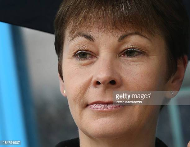 Green Party Member of Parliament Caroline Lucas leaves Crawley Magistrates Court on October 16 2013 in Crawley England The MP for Brighton Pavilion...