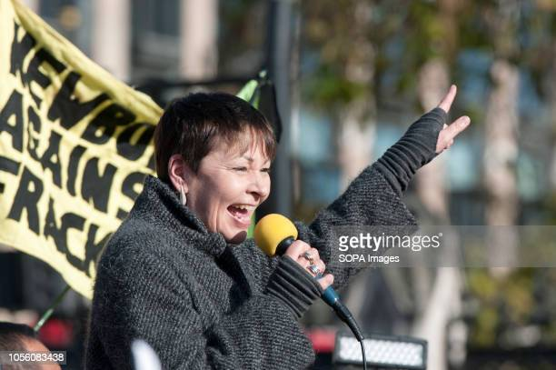 Green party member of Parliament Caroline Lucas seen speaking during the protest The newly formed Extinction Rebellion group concerned about climate...