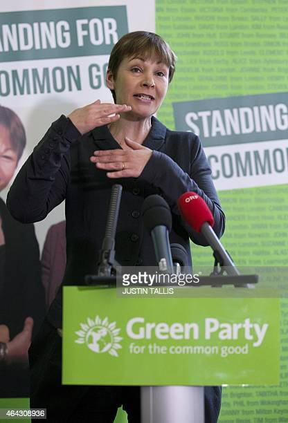 Green Party member of parliament Caroline Lucas speaks during a press conference to launch the party's election campaign in London on February 24,...