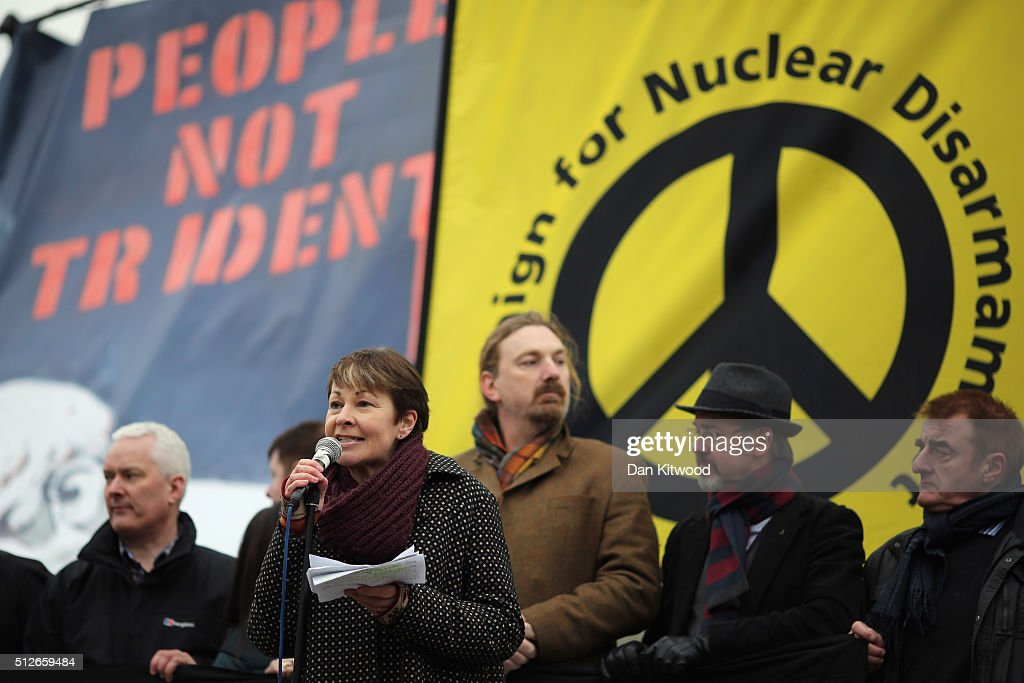 Green Party member of parliament (MP) Caroline Lucas speaks to the crowds from Trafalgar Square after a 'Stop Trident' march though central London on February 27, 2016 in London, England. The leaders of three political parties will attend the march today. Labour leader Jeremy Corbyn, SNP leader Nicola Sturgeon and Plaid Cymru leader Leanne Wood are expected to speak to thousands of protesters in support of the Stop Trident campaign.
