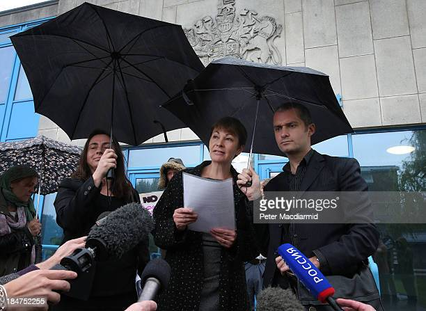 Green Party Member of Parliament Caroline Lucas talks to reporters as she leaves Crawley Magistrates Court on October 16 2013 in Crawley England The...