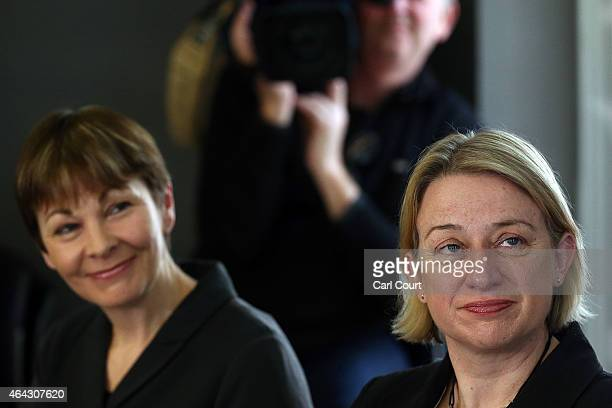 Green Party member of Parliament for Brighton Pavilion Caroline Lucas and Party leader Natalie Bennett attend a press conference on February 24 2015...