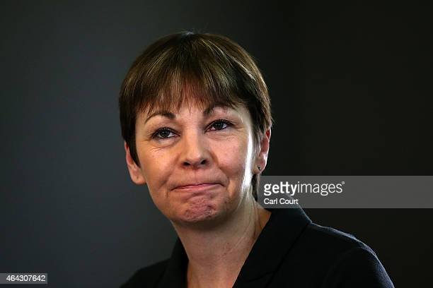 Green Party member of Parliament for Brighton Pavilion Caroline Lucas attends a press conference on February 24 2015 in London England The Greens...
