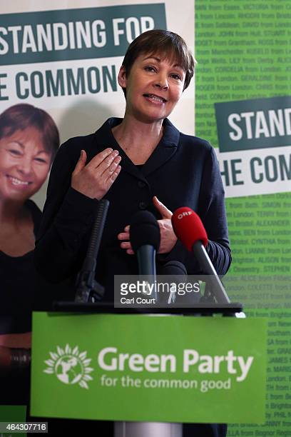 Green Party member of Parliament for Brighton Pavilion Caroline Lucas speaks during a press conference on February 24 2015 in London England The...