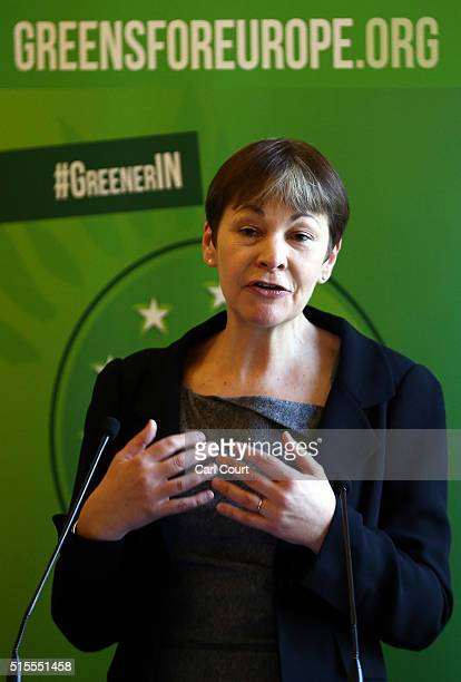 Green Party Member of Parliament for Brighton Pavilion Caroline Lucas speaks at the launch of her party's EU campaign on March 14 2016 in London...