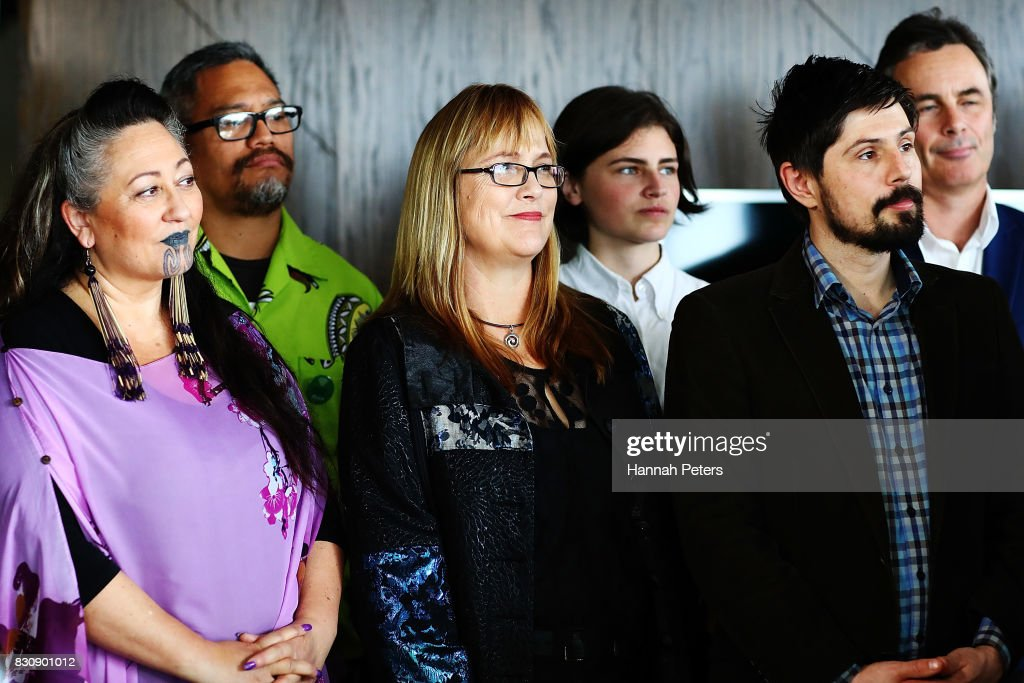 Green Party members Elizabeth Kerekere, Denise Roche and Gareth Hughes listen to leader James Shaw speak at the relaunch of the Greens Party on August 13, 2017 in Auckland, New Zealand. The Greens Party have relaunched their party with a new slogan 'Love New Zealand'.