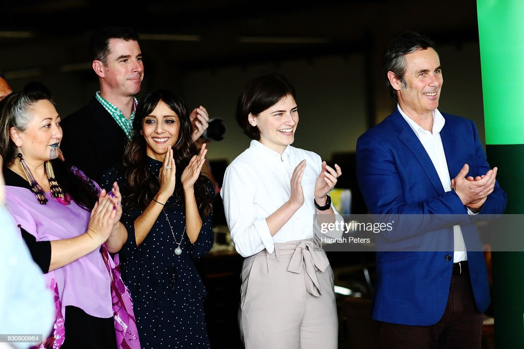 Green Party members Elizabeth Kerekere, Golriz Ghahraman, Chloe Swarbrick and Matt Lawrey applaud leader James Shaw at the relaunch of the Greens Party on August 13, 2017 in Auckland, New Zealand. The Greens Party have relaunched their party with a new slogan 'Love New Zealand'.