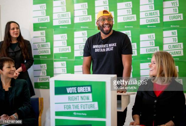 Green Party MEP candidate and current Lord Mayor of Sheffield Magid Magid stands and speaks during the launch of the Green Party's European election...