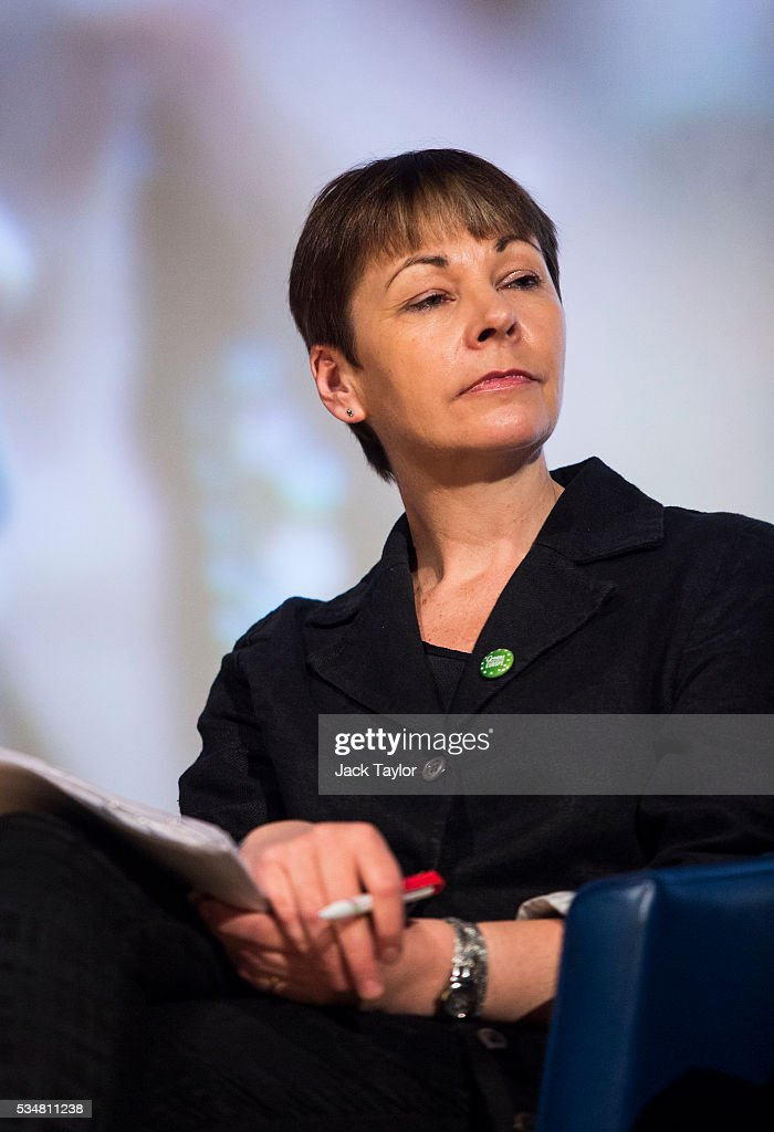 Green Party MP Caroline Lucas attends a Diem25 event at The UCL, Institute of Education on May 28, 2016 in London, England. Left-wing politicians and thinkers were today campaigning at the DiEM25 event to stay in the European Union ahead of the EU referendum on the 23rd of June.
