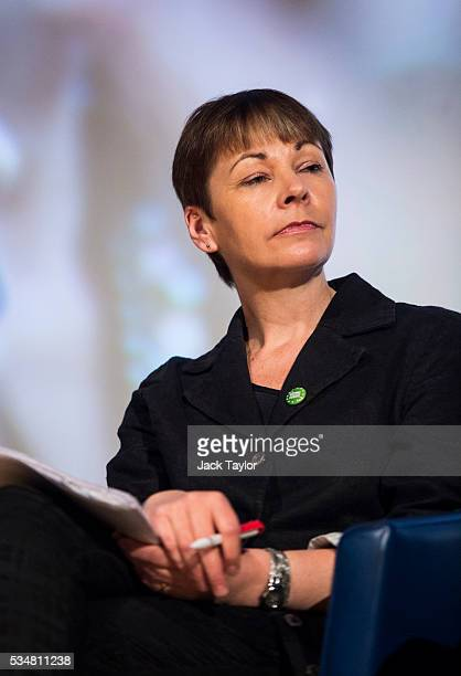 Green Party MP Caroline Lucas attends a Diem25 event at The UCL Institute of Education on May 28 2016 in London England Leftwing politicians and...