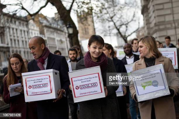 Green Party MP Caroline Lucas Labour MP Chuka Umunna and Conservative MP Justine Greening join members of the 'Independent and the Peoples Vote...