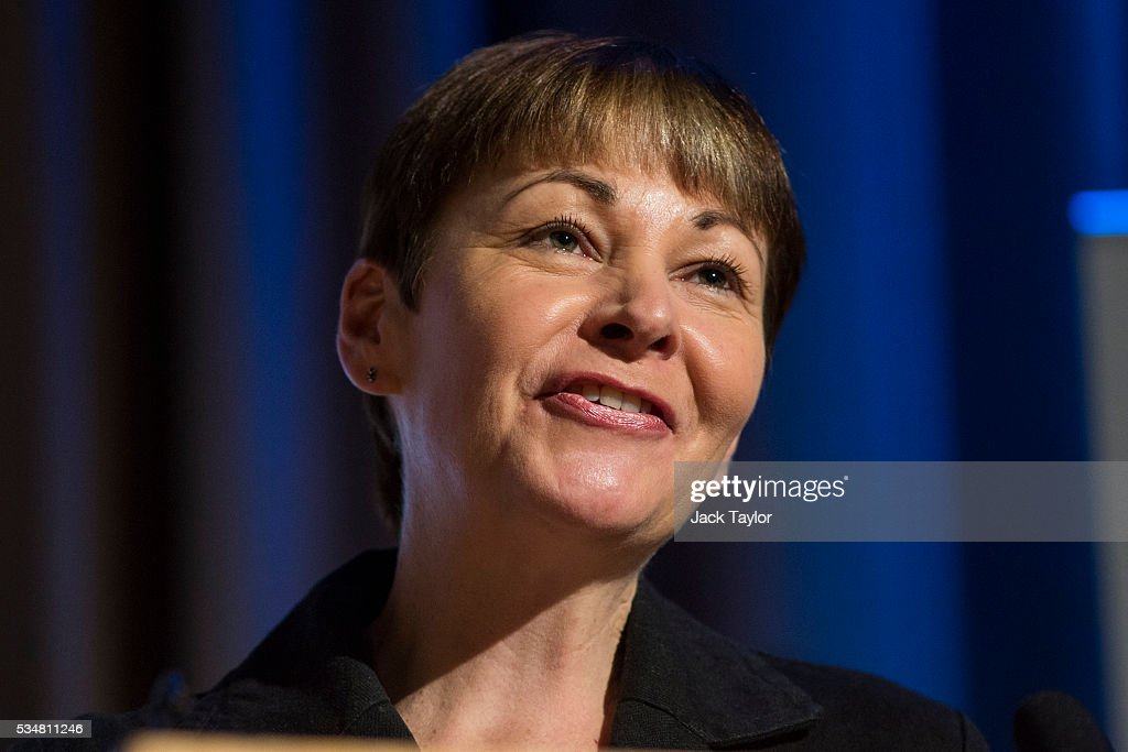 Green Party MP Caroline Lucas speaks at a Diem25 event at The UCL, Institute of Education on May 28, 2016 in London, England. Left-wing politicians and thinkers were today campaigning at the DiEM25 event to stay in the European Union ahead of the EU referendum on the 23rd of June.