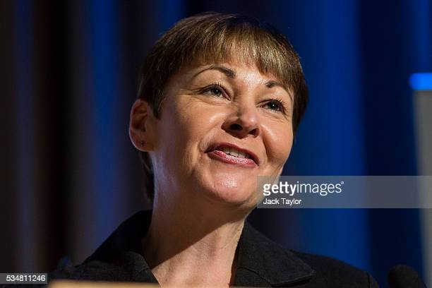 Green Party MP Caroline Lucas speaks at a Diem25 event at The UCL Institute of Education on May 28 2016 in London England Leftwing politicians and...