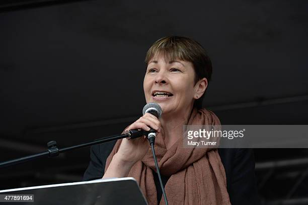Green Party MP for Birghton and Hove Caroline Lucas speaks to thousands of demonstrators gathered in Parliament Square to protest against austerity...