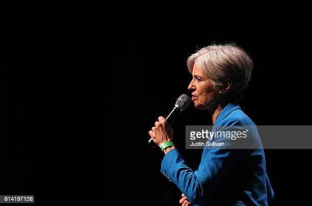 Green party nominee Jill Stein speaks during a campaign rally at the Hostos Center for the Arts Culture on October 12 2016 in New York City Jill...