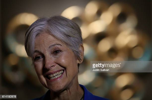 Green party nominee Jill Stein speaks to members of the press before the start of a campaign rally at the Hostos Center for the Arts Culture on...