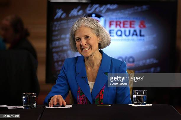 Green Party presidential candidate Jill Stein is interviewed prior to a debate hosted by the Free and Equal Elections Foundation and moderated by...