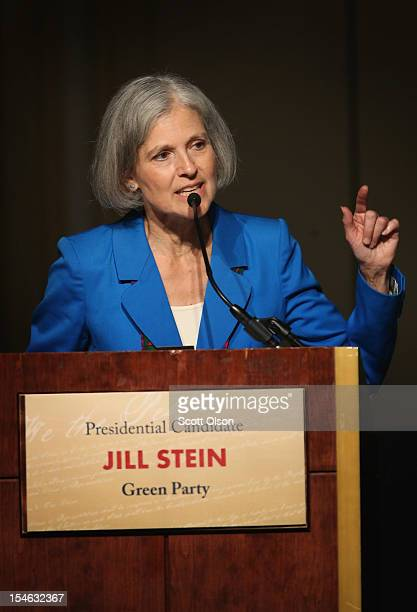 Green Party presidential candidate Jill Stein makes a point during a debate hosted by the Free and Equal Elections Foundation and moderated by former...