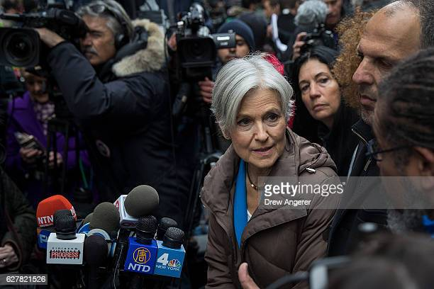 Green Party presidential candidate Jill Stein speaks at a news conference on Fifth Avenue across the street from Trump Tower December 5 2016 in New...